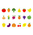 fruit berry vegetable face icon set pear vector image