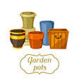 garden pots background with various color vector image vector image