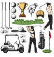 golf sport items icons and player with play course vector image