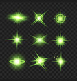 green glowing lights star on black transparent vector image