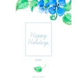 Greeting Card with Blue Flowers vector image