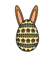 happy easter egg painted with ears rabbit vector image vector image