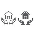 home in hands line and glyph icon real estate vector image vector image