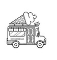 ice cream van coloring page for kids vector image vector image