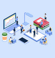 isometric people in open space office coworking vector image