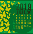 july 2019 calendar template with abstract vector image vector image