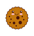 kawaii chocolate chip cookie dessert eating icon vector image