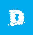 letter d cloud font symbol white alphabet sign on vector image vector image