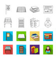 library and bookstore outlineflat icons in set vector image