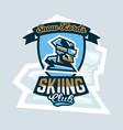 logo skiing club emblem the skier faces in vector image