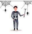 man wearing skeleton costume taking selfie spider vector image vector image