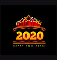 new year marquee 2020 on black vector image vector image