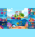 ocean scenes with children and sea animals vector image