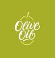 olive oil hand written lettering logo vector image vector image