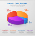 pie chart 3d graph design with percentages vector image vector image