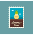 Pineapple flat stamp summertime vector image vector image