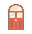 red wooden double front door with round top and vector image