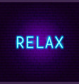 relax neon text vector image