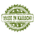 scratched textured made in karachi stamp seal vector image vector image