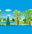 seamless landscape with trees pines and river vector image vector image
