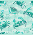 seamless pattern with crabs and shell vector image