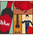 set classic icons of Spanish culture vector image