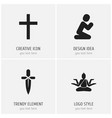 set of 4 editable dyne icons includes symbols vector image vector image