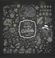set of chalk christmas signs symbols decorations vector image