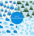 set of winter patterns seamless christmas pattern vector image