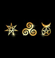 Set of witches runes golden wiccan divination