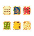 set toasts with berries and fruits for vector image vector image