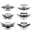 set vintage airplane show emblems design vector image vector image