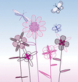 spring flowers with butterflies vector image