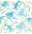 Spring seamless snowdrops flowers and birds vector image