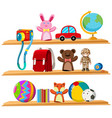 toys and books on wooden shelves vector image vector image