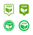 vegan icon set bio ecology organic logos and vector image vector image