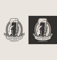 vintage beer pub monochrome emblem vector image vector image