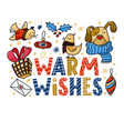 warm wishes greeting card with funny dog and birds vector image