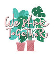 we stick together - funny card with house plants vector image vector image