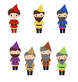 set of cartoon happy dwarf set of cartoon happy vector image