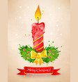 vintage postcard with christmas candle vector image