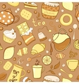Tea and sweets seamless pattern in doodle style vector image