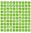 100 business training icons set grunge green vector image vector image