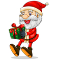 A smiling Santa holding a present for Christmas vector image vector image