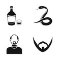alcohol snake and other web icon in black style vector image vector image
