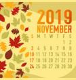 autumnfall months calendar 2019 template vector image