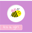Baby shower card with bee Its a girl vector image vector image
