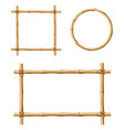 bamboo frames isolated wooden borders set vector image