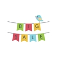 big sale text on a garland flags vector image vector image