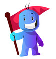 blue cartoon caracter with a flag on white vector image vector image